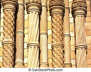 Columns in carved stone