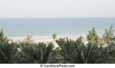 Beach and turquoise water of the luxury hotel, Ajman, UAE