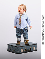 Little boy as boss manager - businessman