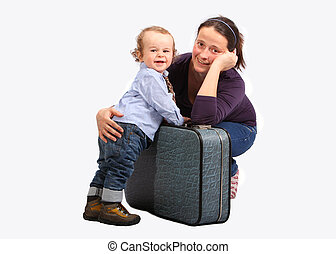 Mother with little boy a destination isolated on white background