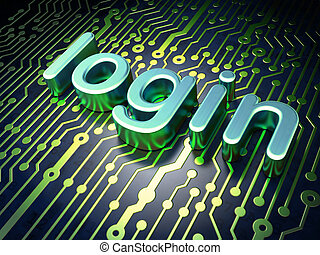 Privacy concept: Login on circuit board background - Privacy...