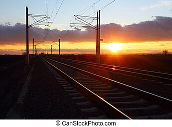 Railway at dusk