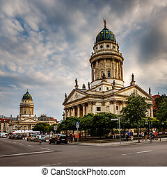 French and German Cathedrals on Gendarmenmarkt Square in...