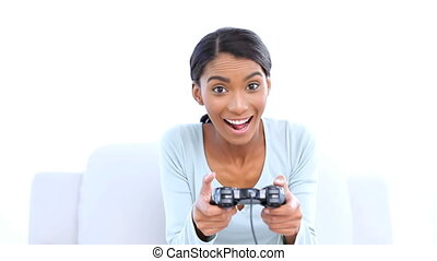 Woman playing video games - Happy woman playing video games