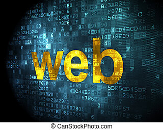 SEO web development concept: Web on digital background - SEO...