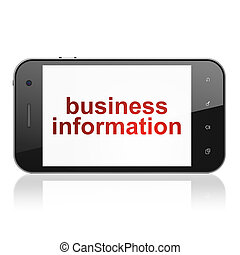 Finance concept: Business Information on smartphone -...