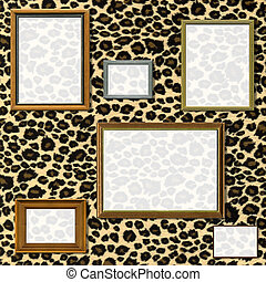 Vintage picture frame selection against a leopard print background with clipping paths