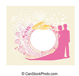 Card with love couple and floral arch designed for wedding