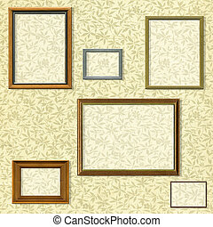 Vintage picture frame selection against a floral background with clipping paths