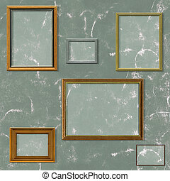 Vintage picture frame selection against a grunge background with clipping paths