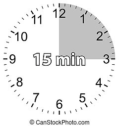 Fifteen minutes - Unique icon of hours with fifteen minutes