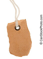 Blank tag tied with string isolated