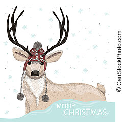 Cute deer with winter background - Cute deer with hat winter...