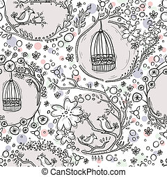 motívum,  seamless,  birdcages