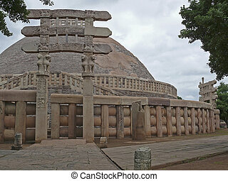 Sanchi Stupa One, Dakshini Totan Dwar, South gate, Madhya...