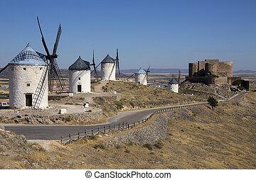 Windmills - La Mancha - Spain - The windmills and castle of...
