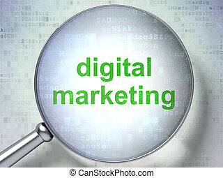 Marketing concept: Digital Marketing with optical glass -...