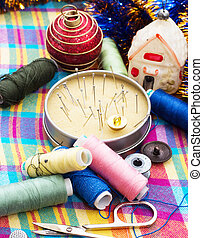 Instruments of repairman clothing - set of seamstress for...