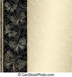Silvery vintage frame with lacy butterflies vector EPS 10