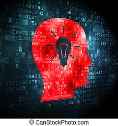 Education concept: Head With Light Bulb on digital background