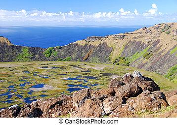 Rano Kau crater lake - Easter Island Rapa Nui