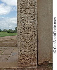 Sanchi - Carved Part on Sanchi Stupa One, Pashimi Totan...