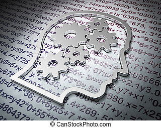Education concept:  Head With Gears on Education background