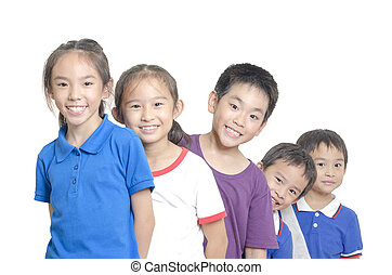 Smiling children - Five children smiling on white background