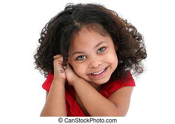 Beautiful Girl - Beautiful three year old African American...
