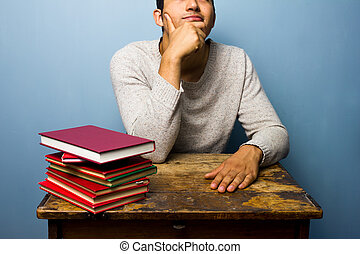Student with books is thinking