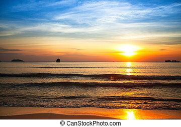 Beautiful sunset on the sea beach