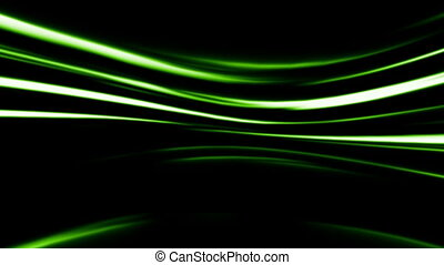 Abstract green line on black background