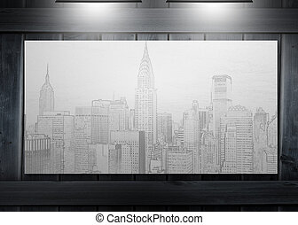 Poster representing a city hung on wooden board and lit by...