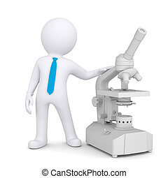 3d man with a microscope Isolated render on a white...