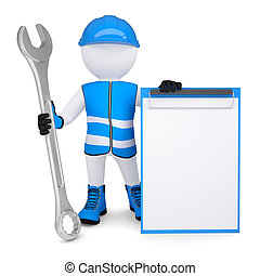 3d man in overalls with wrench - 3d man in overalls with a...