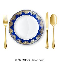 Plate with spoon, knife and fork - Empty plate with spoon,...