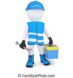 3d man in overalls with a wrench