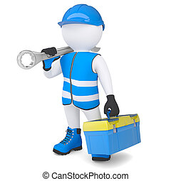 3d man in overalls with a wrench and tool box. Isolated...