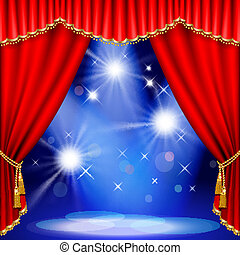 Theater stage. Mesh. - Theater stage with red curtain. Mesh....