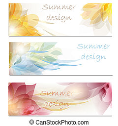 Brochure vector set in floral style