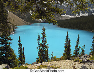 Lake Moraine - Banff National Park - Canada - Bright blue...