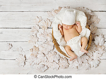Newborn baby sleeping in basket on leaves over white