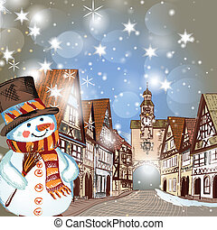 Christmas scene with houses in snow - Christmas vector hand...