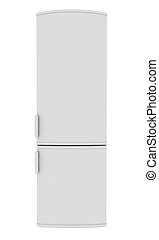 White refrigerator. Isolated render on a white background