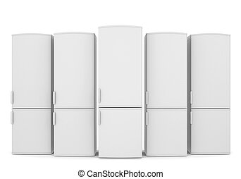 White refrigerators Isolated render on a white background