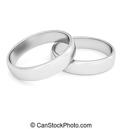 Two silver rings Isolated render on a white background