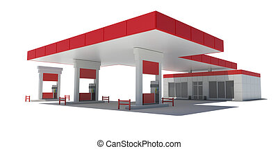 Gas Station Render on a white background