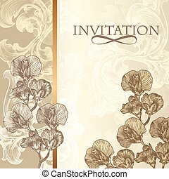 Elegant invitation card in vintage - Vector hand drawn...