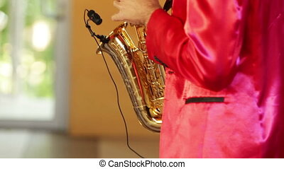 Performance of a melody saxophone. - Man in a red suit,...