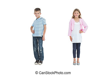 Cheerful young brother and sister posing